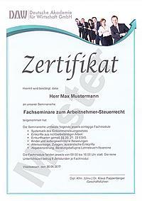 Zertifikat Fachseminare zum Arbeitnehmer-Steuerrecht
