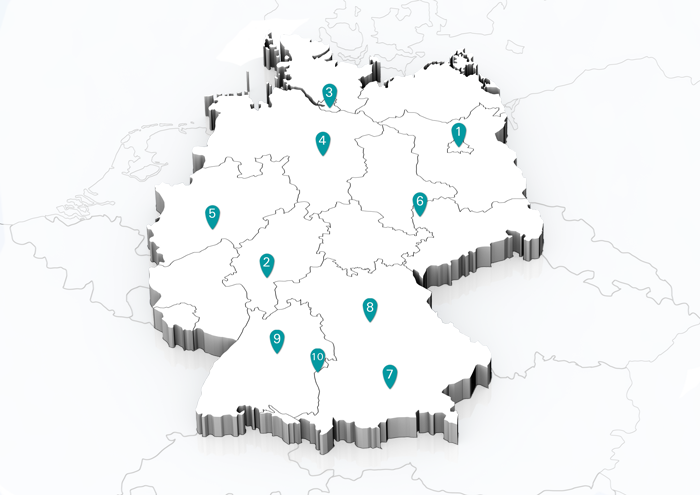 Deutschlandkarte mit Seminarorten