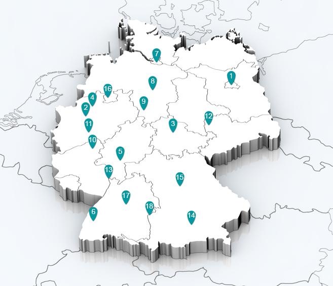 Deutschlandkarte mit Seminarorte